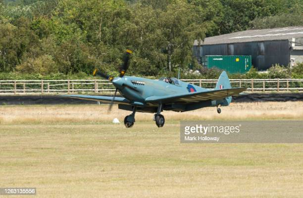 Pilot of the NHS Spitfire John Romain arrives at Goodwood Airfield at Goodwood on August 01 2020 in Chichester England The 'Thank U NHS' Spitfire...