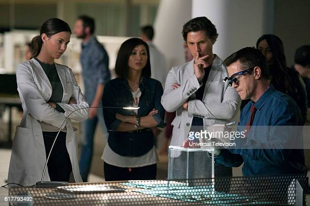 GENIUS 'Pilot' Pictured Odette Annale as Dr Zoe Brockett Brenda Song as Angie Cheng Augustus Prew as James Bell Dermot Mulroney as Dr Walter Wallace