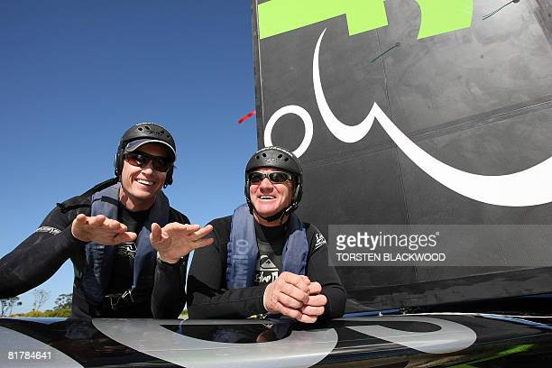 Pilot Sean Langman and copilot Martin Thompson prepare to launch the stateoftheart carbon fibre fixed wing 'WotRocket' in Botany Bay before gale...
