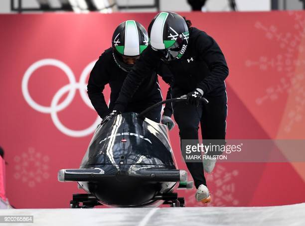 Pilot Seun Adigun of Nigeria starts her 2woman bobsleigh training session at the Olympic Sliding Centre during the Pyeongchang 2018 Winter Olympic...