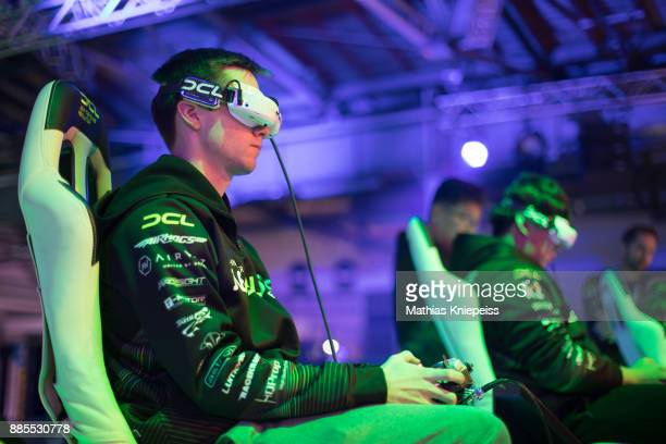 A pilot sits in the cockpit at Station Berlin during the DCL Drone Champions League Championship Finals in Berlin on December 02 2017 in Berlin...