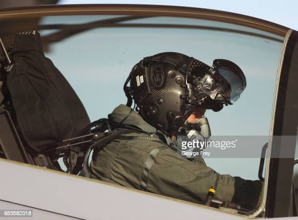 A pilot sits in the cockpit of an F35 fighter jet preparing for a training mission at Hill Air Force Base on March 15 2017 in Ogden Utah Hill is the...