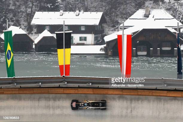 Pilot Steven Holcomb and Steven Langton of Team USA 1 competes at the first run of the men's Bobsleigh World Championship on February 19 2011 in...