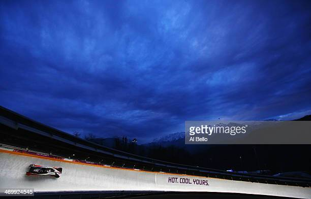 Pilot Steven Holcomb and Steven Langton of the United States team 1 in action during the Men's TwoMan Bobsleigh on Day 10 of the Sochi 2014 Winter...