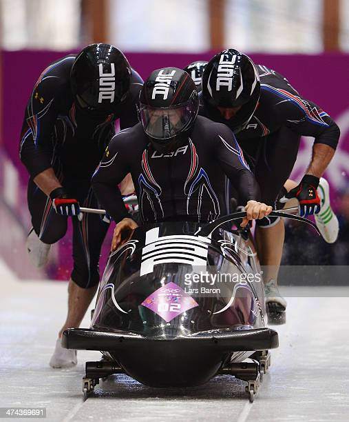 Pilot Steven Holcomb Curtis Tomasevicz Steven Langton and Christopher Fogt of the United States team 1 make a run during the Men's FourMan Bobsleigh...
