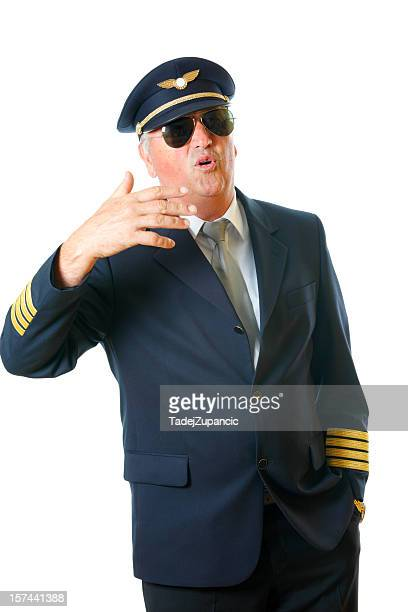 pilot talking - aviation hat stock photos and pictures