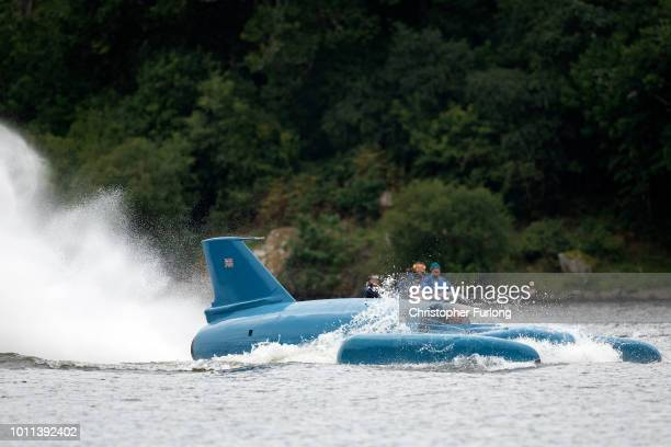 Pilot Ted Walsh fires up the jet engine of Donald Campbell's iconic Bluebird as it propels on the waters of Loch Fad for the first time for 50 years...