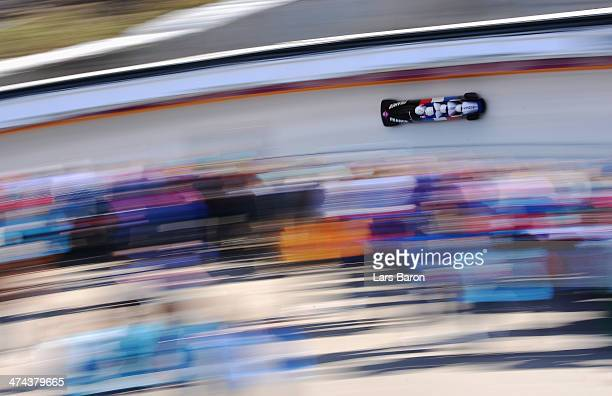 Pilot Thibault Alexis Godefroy Jeremy Baillard Vincent Daniel JeanPaul Ricard and Jeremie Boutherin of France team 2 make a run during the Men's Four...