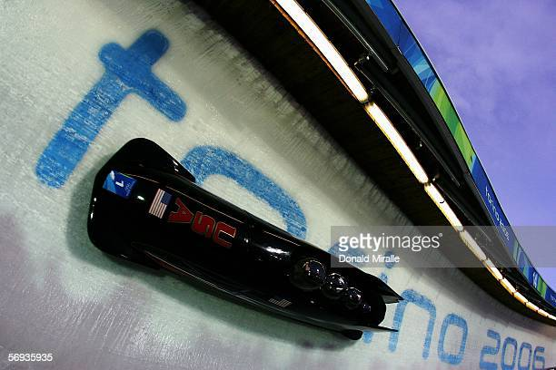 Pilot Todd Hays and teammates Pavle Jovanovic Steve Mesler and Brock Kreitzburg of United States 1 compete in the Four Man Bobsleigh Final on Day 15...