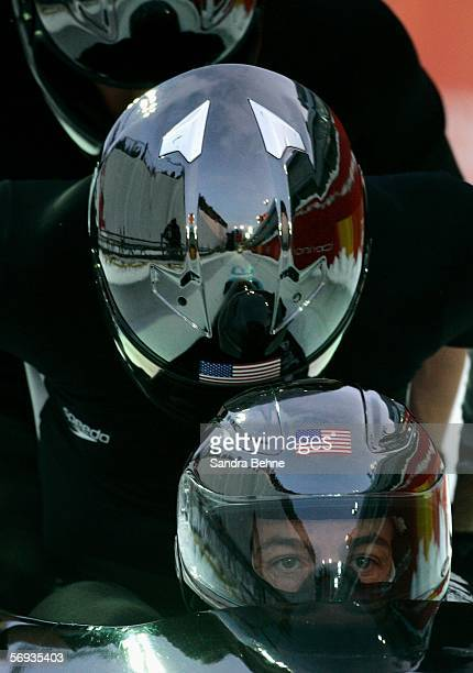 Pilot Todd Hays of United States 1 competes with teammates Pavle Jovanovic Steve Mesler and Brock Kreitzburg in the Four Man Bobsleigh Final on Day...