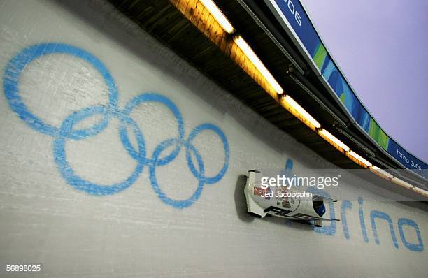 Pilot Victoria Tokovaia and Nadejda Orlova of Russia 1 compete in the Two Woman Bobsleigh Final on Day 11 of the 2006 Turin Winter Olympic Games on...