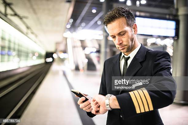 Pilot waiting the trainat the station