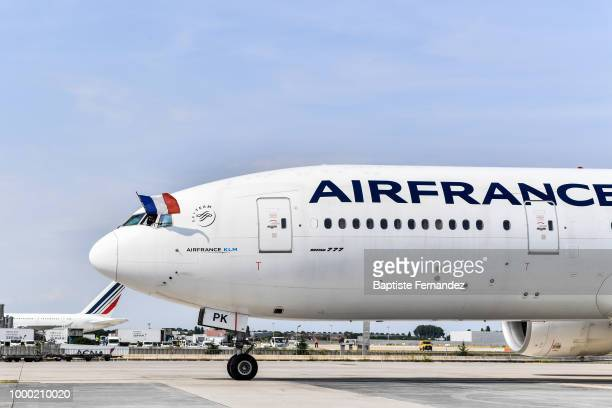 Pilot with the french flag during the arrival at Airport Roissy Charles de Gaulle on July 16 2018 in Paris France