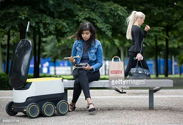 EAT pilots a Starship robot to deliver food from its takeaway restaurants on July 5 2016 in London England