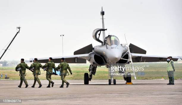 Pilots after flying the first batch of five Rafale aircraft during its induction ceremony on September 10, 2020 in Ambala, India. The aircraft will...