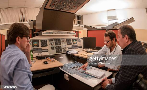 Pilots and instructor at work during a training session at a A320 mock up cockpit at TAP Air Portugal training center in Lisbon International Airport...