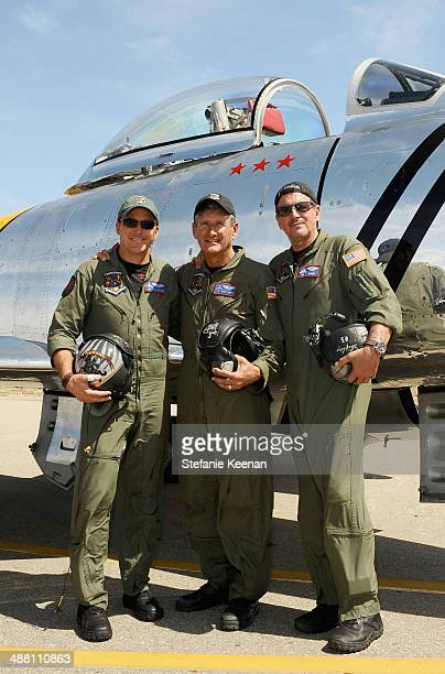 Pilots Dan Friedkin Steve Hinton and Ed Shipley attend The Horsemen Flight Team Event Hosted By Dan Friedkin And Lauren Sanchez Whitesell sponsored...