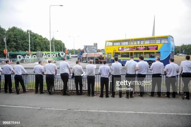 Pilots for Ryanair Holdings Plc and members of Irish Air Line Pilots' Association in Ireland's Forsa unionstand on a picket line as they take part...