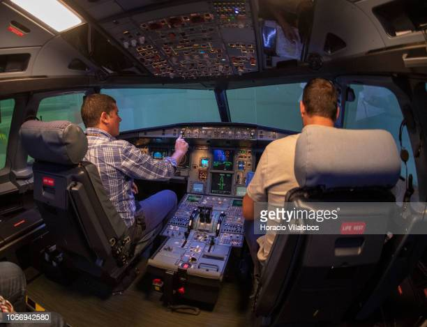Pilots get ready in TAP A320 medium range flight simulator before the start of a training session at TAP Air Portugal training center in Lisbon...
