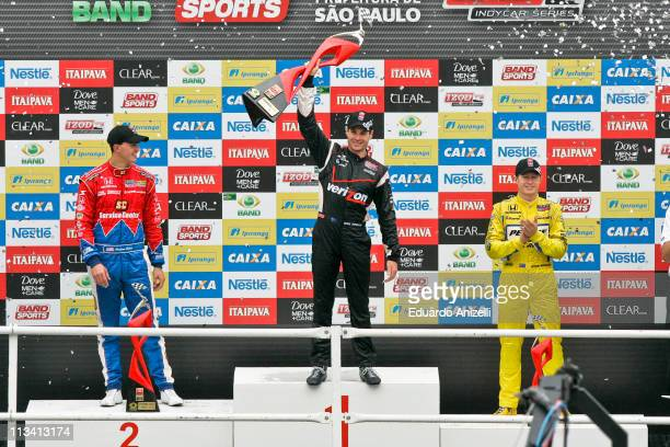 Pilots Graham rahal , Will Power and Ryan Briscoe celebrate the first positions after Indy Sao Paulo 300 at Anhembi on May 2, 2011 in Sao Paulo,...