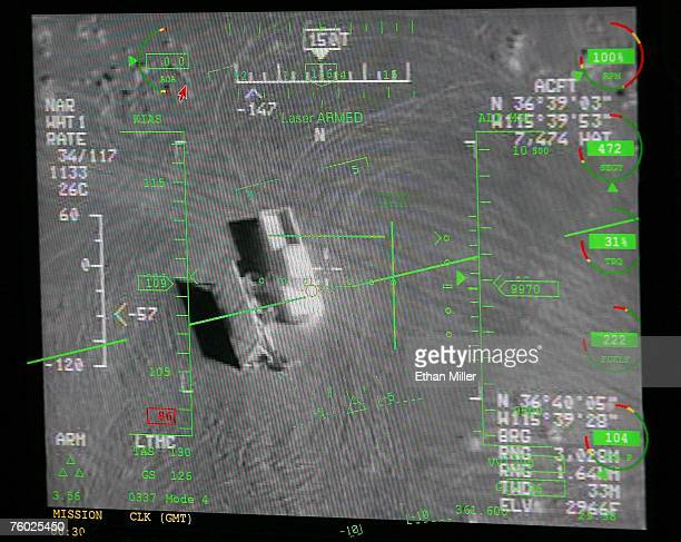 A pilot's heads up display in a ground control station shows a truck from the view of a camera on an MQ9 Reaper during a training mission August 8...