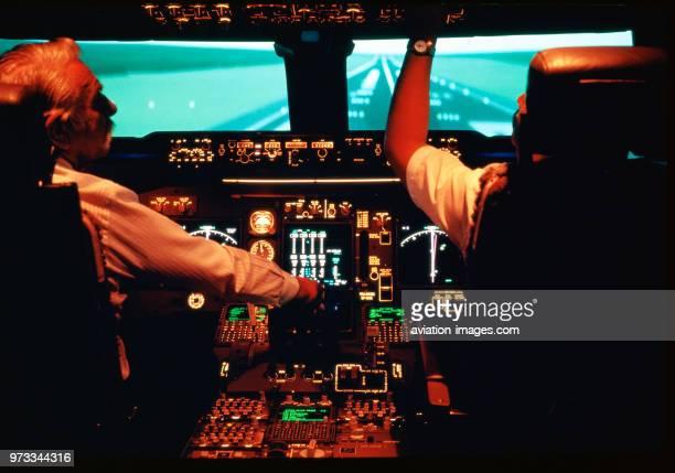 pilots in a Boeing 747400 aircraft cockpitsimulator at the Thai International training base in Bangkok Thailand