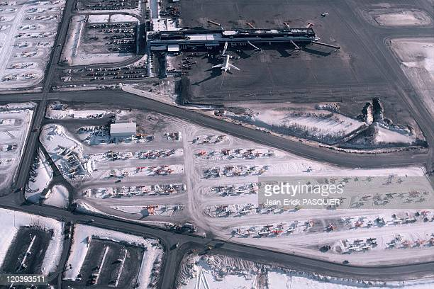 Pilots in Anchorage in Alaska in United States Aerial view of the international airport