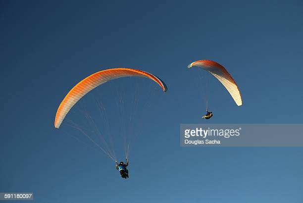 Pilots navigate the blue sky