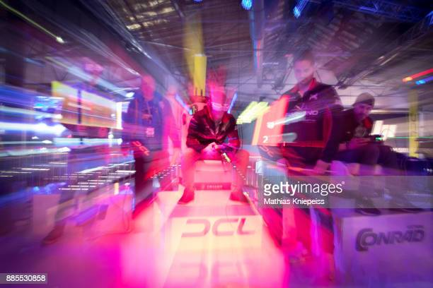 Pilots sitting on stage at Station Berlin during the DCL Drone Champions League Championship Finals in Berlin on December 02 2017 in Berlin Germany