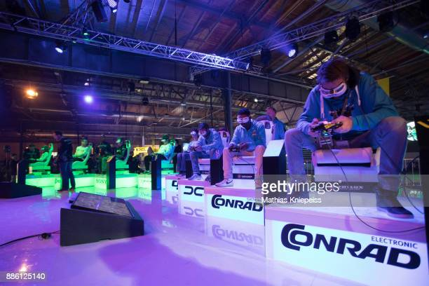 Pilots sitting on stage at Station Berlin during the DCL Drone Champions League Championship Finals in Berlin on December 03 2017 in Berlin Germany