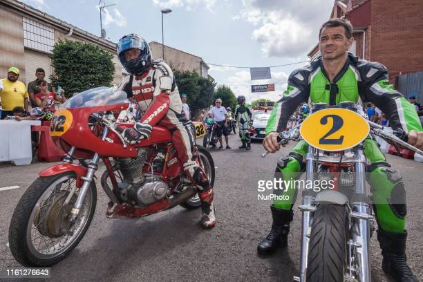 Pilots with classic motorbikes in the previous moments before the urban race in the village of quotLa Bañezaquot in Leon province Spain on August 11...