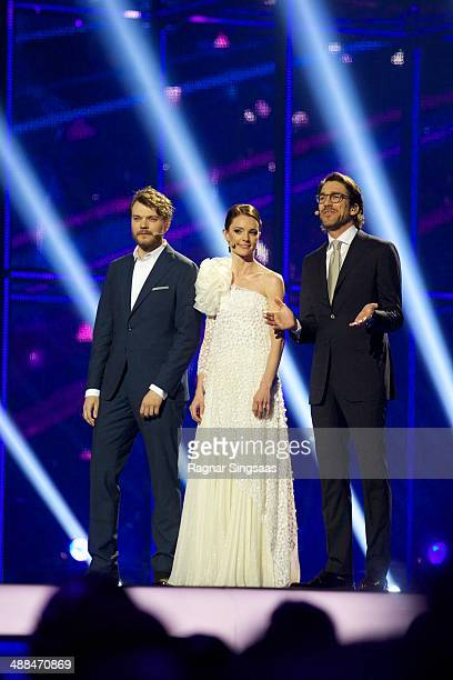Pilou Asbaek Lise Ronne and Nikolaj Koppel host the first Semi Final of the Eurovision Song Contest 2014 on May 6 2014 in Copenhagen Denmark