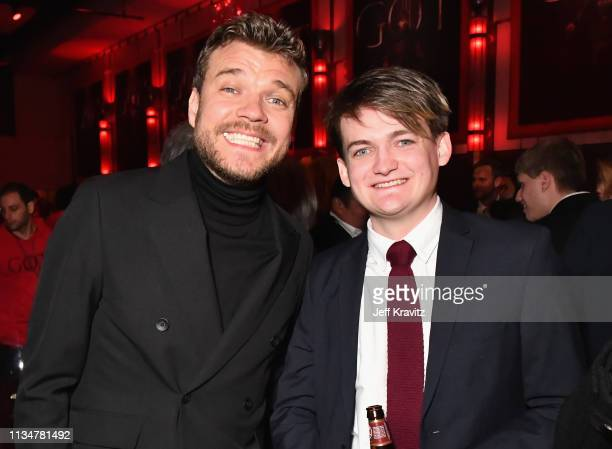Pilou Asbæk and Jack Gleeson attend the Game Of Thrones Season 8 NY Premiere After Party on April 3 2019 in New York City