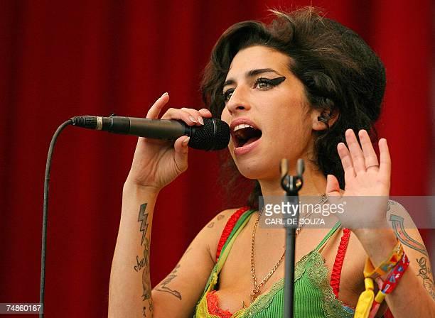 British pop singer Amy Winehouse performs at the Glastonbury music festival in Pilton Somerset in southwest England 22 June 2007 The Glastonbury...