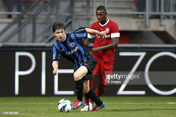 Pim Bouwman of FC Inter Turku Douglas of FC Twente during the Europa League Playoff match between FC Twente and Inter Turku at De Grolsch Veste on...
