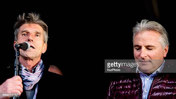 Pim Fortuyn's brother Simon Fortuyn and former chauffeur Hans Smolders onn 2 May in Rotterdam Netherlands during a demonstration against the release...