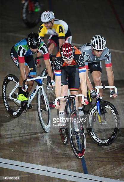 Pim Ligthart and Fracesco Lamon and Alex Rasmussen compete in the Longest Lap during day six of the Six Day London Cycling Event at the Velodrome Lee...