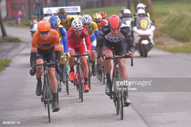 Pim Ligthart of The Netherlands and Team Sport Vlaanderen Baloise / Filippo Ganna of Italy and UAE Team Emirates / during the 102nd Tour of Flanders...