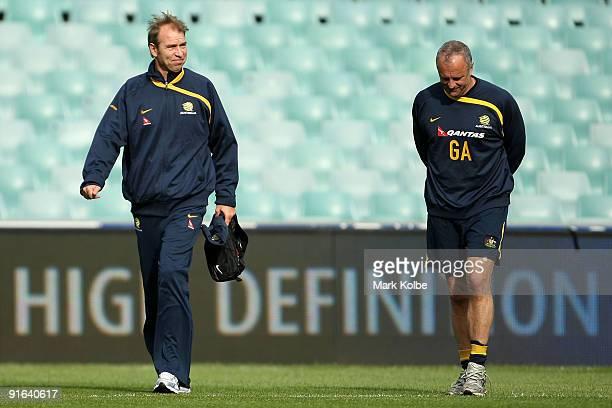Pim Verbeek and Graham Arnold arrive for an Australian Socceroos training session at the Sydney Football Stadium on October 9 2009 in Sydney Australia