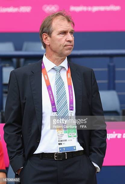 Pim Verbeek coach of Morocco looks on prior to the Men's Football first round Group D Match of the London 2012 Olympic Games between Honduras and...