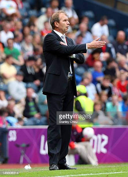 Pim Verbeek coach of Morocco reacts during the Men's Football first round Group D Match of the London 2012 Olympic Games between Honduras and Morocco...