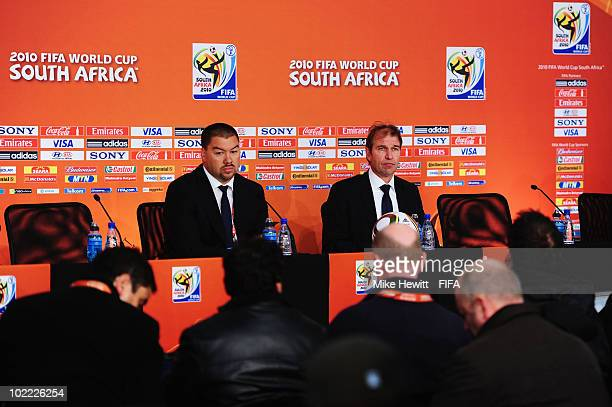 Pim Verbeek head coach of Australia attends a press conference after the 2010 FIFA World Cup South Africa Group D match between Ghana and Australia...