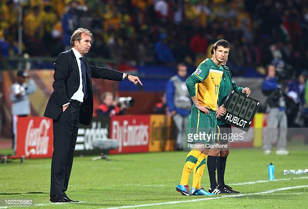 Pim Verbeek head coach of Australia gestures to his players during the 2010 FIFA World Cup South Africa Group D match between Ghana and Australia at...