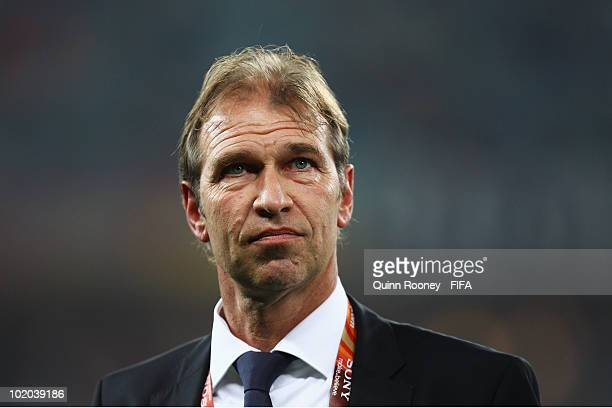 Pim Verbeek head coach of Australia looks on prior to the 2010 FIFA World Cup South Africa Group D match between Germany and Australia at Durban...