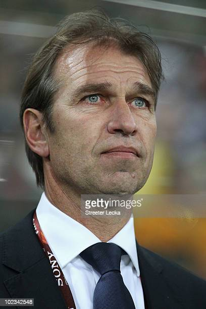 Pim Verbeek head coach of Australia looks thoughtful ahead of the 2010 FIFA World Cup South Africa Group D match between Australia and Serbia at...