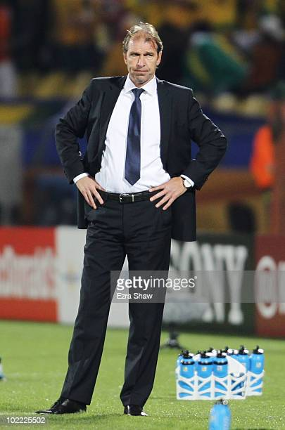 Pim Verbeek head coach of Australia watches from the touchline during the 2010 FIFA World Cup South Africa Group D match between Ghana and Australia...