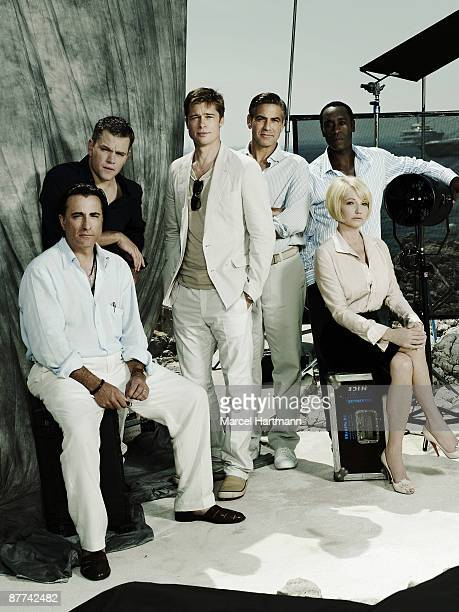 The cast of 'Oceans Thirteen' poses at Hotel Eden Rock during the Cannes Film festival on May 23 2007 for USA Today Andy Garcia Matt Damon Brad Pitt...