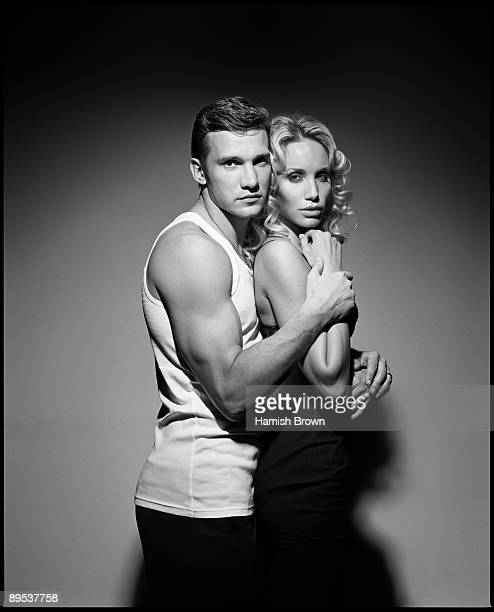 Footballer Andrei Shevchenko and his wife Kristen Pazik pose for a portrait shoot in London UK for German GQ Magazine