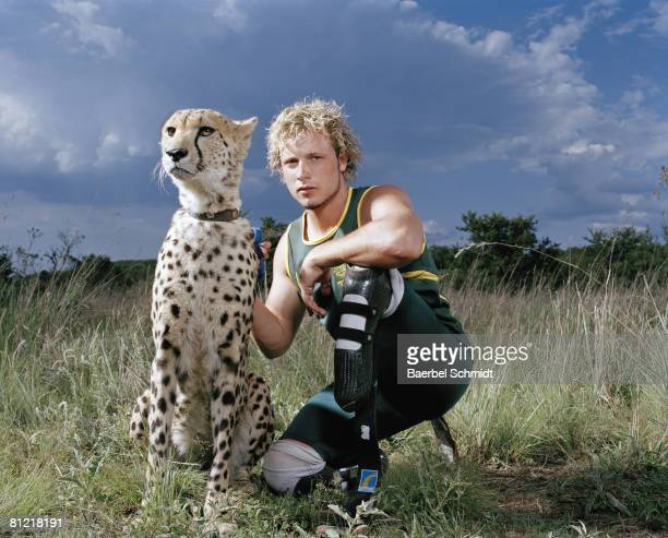 South African Paralympic runner Oscar Pistorius poses at a photo shoot for Wired Magazine in Jan 2007