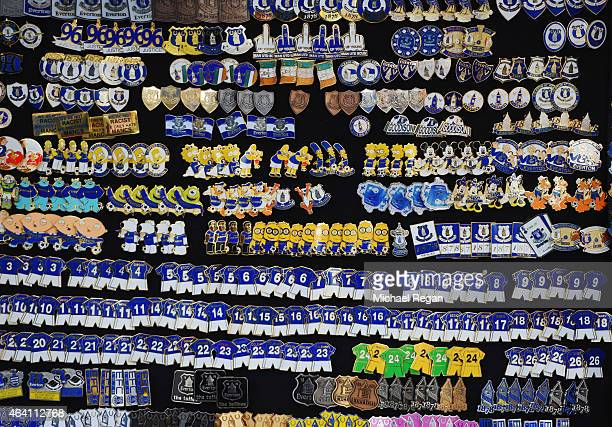 Pin badges for sale prior to the Barclays Premier League match between Everton and Leicester City at Goodison Park on February 22 2015 in Liverpool...